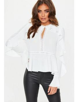 White Ladder Lace Sleeve Frill Blouse by Missguided