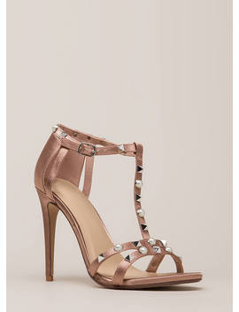Studded With Pearls Strappy Satin Heels by Go Jane