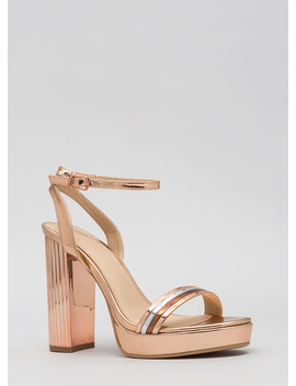 Pillar Heels Shiny Strappy Platforms by Go Jane