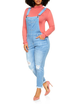 Plus Size Wax Distressed Denim Overalls by Rainbow