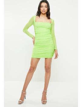 Square Neck Mesh Bodycon Mini Dress   Green by Missguided