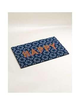 Happy Blue Doormat by Olivar Bonas