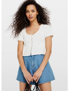 Petite Ivory Short Sleeve Button Down Top by Miss Selfridge