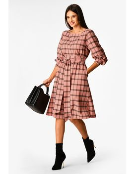 Windowpane Check Print Obi Belt Shift Dress by Eshakti