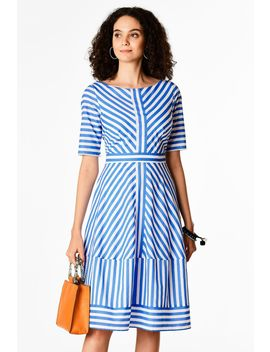 Cotton Stripe Banded Self Trim Dress by Eshakti