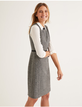 Carrie Tweed Dress   Grey Herringbone by Boden