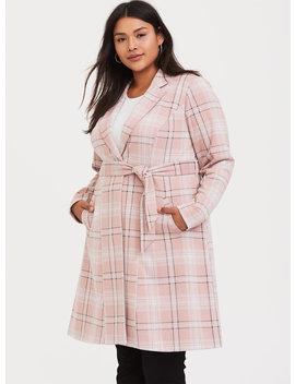 Blush Pink Plaid Self Tie Longline Blazer by Torrid