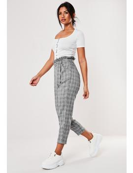 Tall Gray Plaid Paperbag Waist Pants by Missguided