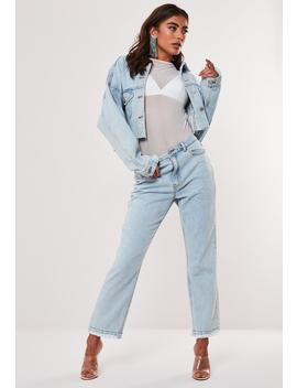 Tall Light Blue Co Ord Wrath High Waisted Straight Leg Denim Jeans by Missguided