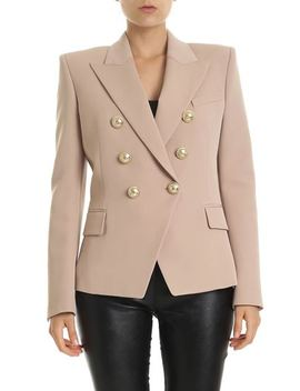 Double Breasted Blazer In Nude Color Virgin Wool by Balmain