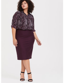 Burgundy Purple Premium Ponte Relaxed Fit Pencil Skirt by Torrid