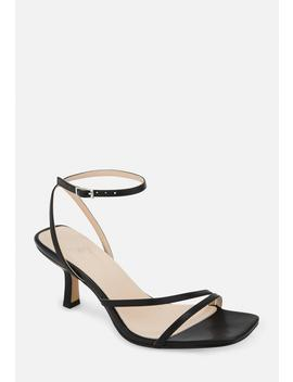 Black Strappy Low Heeled Sandals by Missguided