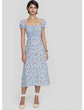 Jasmine Floral Print   Blue   Castilo Midi Dress by Faithfull The Brand