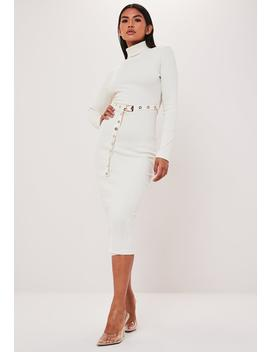 Cream Roll Neck Belted Long Sleeve Midi Dress by Missguided