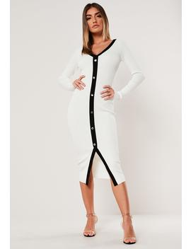 White Button Through Knitted Cardigan Dress by Missguided