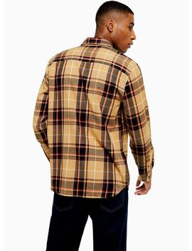 Stone Tartan Check Slim Shirt by Topman