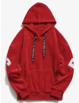 Sale Sleeve Letter Pocket Velvet Hoodie   Red L by Zaful