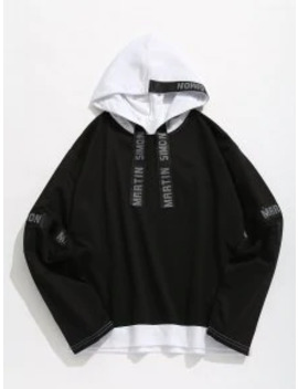 Sale Contrasting Letter Stripes Patch Hoodie   Black S by Zaful