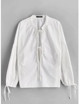 Zaful Low Cut Tied Collar Blouse   White M by Zaful