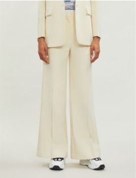 High Rise Flared Cotton Drill Trousers by Sandro