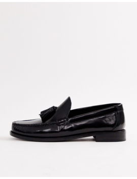 Base London Chime Tassel Loafers In High Shine Black by Base London