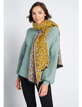 On The Fierce Side Fringed Scarf by Modcloth