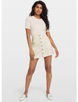 Petite Ivory Cord Skirt by Miss Selfridge