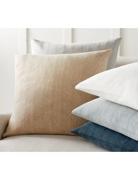 """Stonewashed Cotton Pillow Cover, 24"""", White by Pottery Barn"""