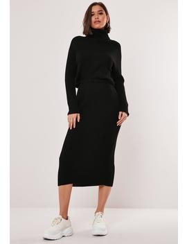 Black Co Ord Knitted Midaxi Skirt by Missguided