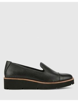 Janey Black Pin Punch Leather Flatform Wedge Slip On Loafer by Wittner