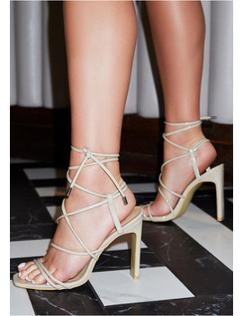 Farah Nude Square Toe Lace Up Heels by Missy Empire