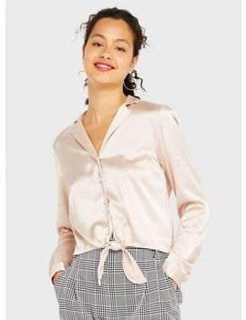 Nude Satin Pearl Tie Front Shirt by Miss Selfridge