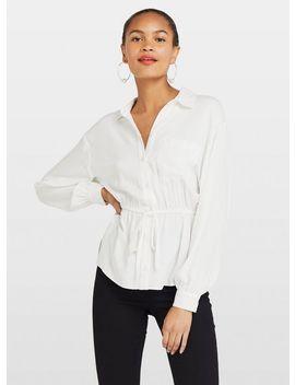 White Drawstring Shirt by Miss Selfridge