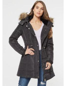 Black Faux Fur Hooded Long Length Puffer Jacket by Rue21