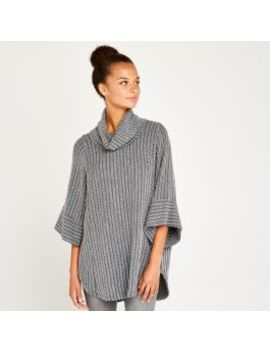 Grey Textured Stripe Rollneck Top by Apricot
