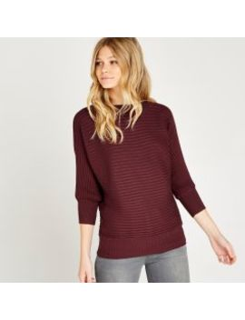 Red Ribbed Batwing Jumper by Apricot