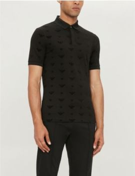 Flocked Logo Slim Fit Stretch Cotton Polo Shirt by Emporio Armani