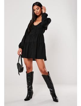 Black Button Down Tiered Mini Dress by Missguided
