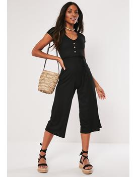 Black Ribbed V Front Culotte Jumpsuit by Missguided