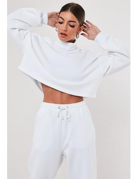 White Roll Neck Cropped Sweatshirt by Missguided