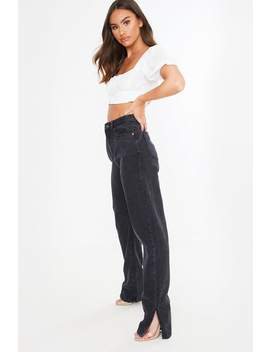 Black Denim Split Hem Straight Leg Jeans by In The Style
