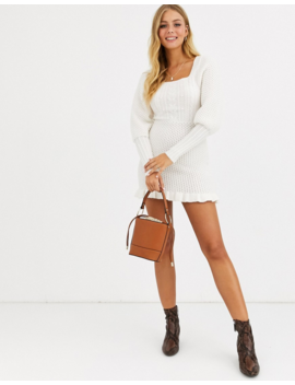 Asos Design Cable Knit Mini Dress With Volume Sleeve by Asos Design