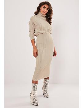Stone Co Ord Knitted Midaxi Skirt by Missguided
