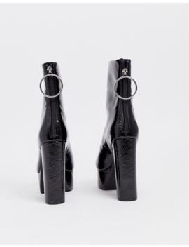 Asos Design   Embers   Bottes à Semelle Plateforme   Noir Verni by Asos Design