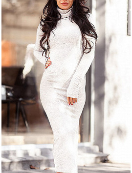 White High Neck Long Sleeve Women Knit Bodycon Midi Dress by Choies