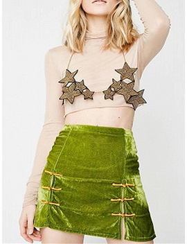 Green Velvet High Waist Double Breasted Button Placket Mini Skirt by Choies