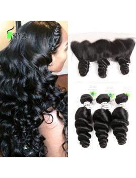 Siyo Brazilian Loose Wave 3 Bundles With Closure Human Hair Bundles With Closure Ear To Ear Lace Frontal Closure With Bundles by Ali Express.Com