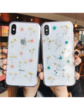 Real Flowers Transparent Soft Tpu Phone Case For I Phone 11 X Xs Xr Xs Max 6 6 S 7 8 Plus Dried Flowers Bling Beautiful Back Cover by Ali Express.Com