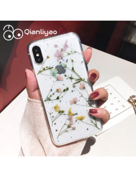 Qianliyao Real Dried Flower Cases For I Phone X Xs Max Xr 6 6 S 7 8 Plus 11 Pro Max Case Handmade Soft Fresh Flower Phone Cover by Ali Express.Com