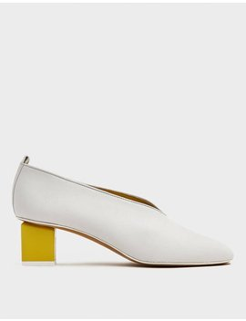 Mildred Classica Heel In Bianco And Limone by Gray Matters Gray Matters